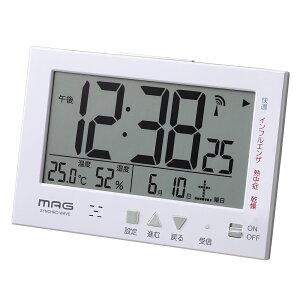置き時計 置時計 目覚まし時計 電波時計 温度湿度計 日付表示 エアサーチ ミチビキ マグ MAG T-727 WH-Z マグ ノア精密 MAG