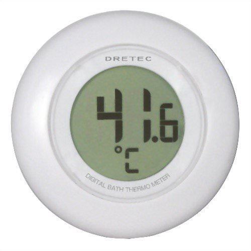ドリテック(DRETEC) デジタル湯音計 O-227WT ホワイト お風呂に浮かべて湯加減を管理