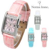 NormaJeane(ノーマ・ジーン)レディース腕時計キューブジルコニアパヴェレザーバンドNR0101レディースウォッチ