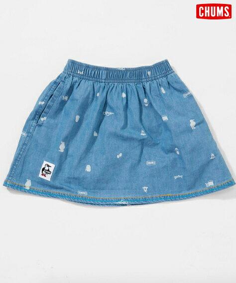 【CHUMS】 Kid's Happy Camp Skirt チャムス/キッズハッピーキャンプスカート/スカート/子供/レディース/Indigo/インディゴ/総柄