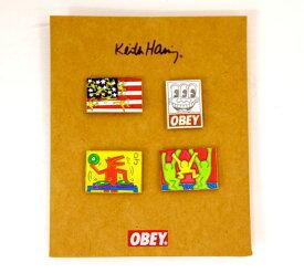 [限定コラボ!!]LAを代表するストリートブランド【正規品】ポスト便OK/OBEY KEITH HARING PIN SET オベイ ピン アクセサリー ヘリング【シティボーイ ストリート カジュアル グラフィック アート スケート ジャイアント オバマ メンズ レディース】