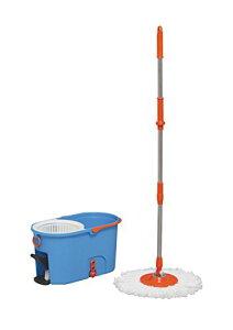 【バケツ付き】アイリスオーヤマ 回転モップ 手が汚れない 足踏み:大型 本体 楽々 洗浄 脱水 KMO-540S