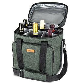 Freshore 断熱ワインキャリアー6ボトルバッグトートバッグ-キャンバスケースを調節可能なショルダーストラップ - (ダークグリーン)