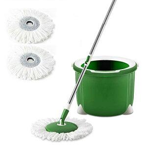 Clean home 回転モップ フローリング フロアモップ バケツ付き クロス2枚付き 床掃除 乾拭き 水拭き 洗浄脱水一体 掃除用品 収納簡単