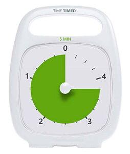【正規品】TIME TIMER タイムタイマー プラス 5分 18cm ハンドル付き ホワイト TT05-W 時間管理