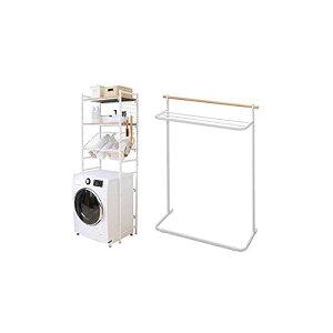 【ランドリーセット】アイリスプラザ ランドリーラック 伸縮 バスケット付き ホワイト 幅約65.5~92.5(65~92の洗濯機に対応) LRP-211 + タオルハンガー ナチュラル物干し ホワイト NRMH-720T