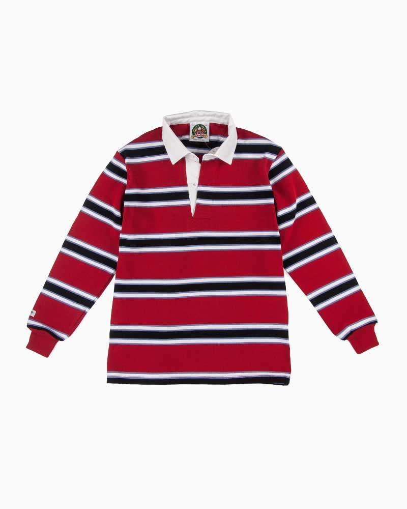 バーバリアン【BARBARIAN】GNBSS L/S PFF07(ダークレッド/コロンビア/ホワイト/ブラック)長袖 レギュラーカラー ラガーシャツ ボーダー