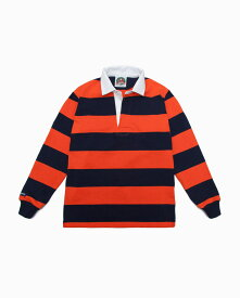 バーバリアン【BARBARIAN】12oz REGULER LONG / BSLC08(ネイビー/オレンジ)長袖 レギュラーカラー ラガーシャツ ボーダー