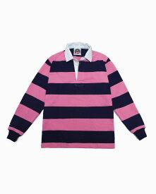 バーバリアン【BARBARIAN】12oz REGULER LONG / BSLC09(ネイビー/ピンク)長袖 レギュラーカラー ラガーシャツ ボーダー