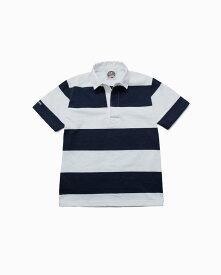 バーバリアン【BARBARIAN】8oz REGULER SHORT / CSSD01(ホワイト/ネイビー)メンズ 半袖 ラガーシャツ ライトウエイト レギュラーカラー ボーダー
