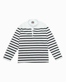 バーバリアン【BARBARIAN】12oz HENLEY LONG / RSF04(ホワイト/ブラック)メンズ 長袖 ヘンリーカラー スタンドカラー ラガーシャツ