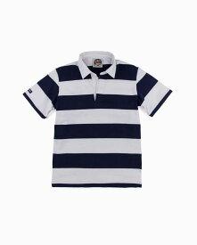 バーバリアン【BARBARIAN】12oz REGULER SHORT / QSE04(ネイビー/ホワイト)メンズ 半袖 レギュラーカラー ラガーシャツ ボーダー