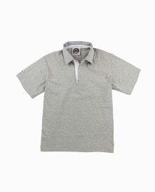 バーバリアン【BARBARIAN】8oz REGULER SHORT / LSS02C(アッシュ)メンズ 半袖 レギュラーカラー ラガーシャツ ライトウエイト※このモデルはニット地の襟が使用されております。
