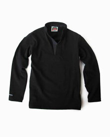 バーバリアン【BARBARIAN】12oz HENLEY LONG / BHLA05(ブラック)メンズ 長袖 ヘンリーカラー スタンドカラー ラガーシャツ 無地