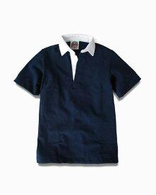 バーバリアン【BARBARIAN】12oz REGULER SHORT / BSSA04(ネイビー)メンズ 半袖 レギュラーカラー ラガーシャツ 無地