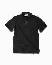バーバリアン【BARBARIAN】12oz HENLEY SHORT / BHSA05(ブラック)メンズ 半袖 ヘンリーカラー スタンドカラー ラガーシャツ 無地