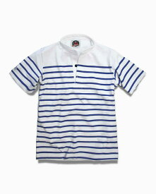 バーバリアン【BARBARIAN】12oz HENLEY SHORT / BHSE01(ホワイト×ロイヤル)メンズ 半袖 ヘンリーカラー スタンドカラー ラガーシャツ ボーダー (ホワイト)(ロイヤルブルー)