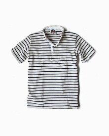 バーバリアン【BARBARIAN】12oz HENLEY SHORT / BHSF01(アイボリー×ネイビー)メンズ 半袖 ヘンリーカラー スタンドカラー ラガーシャツ ボーダー