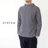 [nisica]ニシカ細ボーダーガンジーネック長袖カットソーNIS-830-CUT