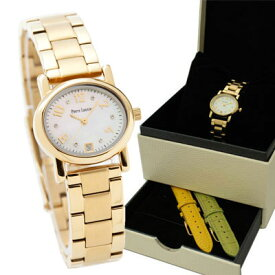 腕時計 レディース ブランド ピエールラニエ オーバル型チェンジャブルウォッチ ゴールド 交換簡単 替えベルト2本付き BOXセット 防水 秒針 P849502 入学祝 父の日 母の日