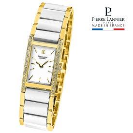 ピエールラニエ レクタングル型ジルコニアセラミックウォッチ ゴールド レディース 腕時計 キラキラ 長方形 p053g500