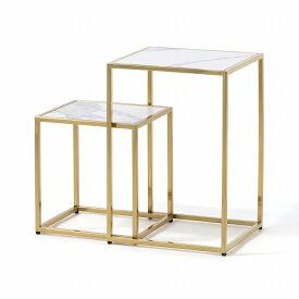 レーヌ ネストテーブル (ゴールド×ホワイト) 【W310】 送料込価格