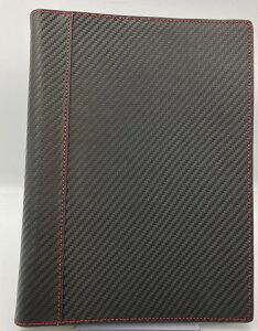 【訳あり20%オフ!】クラシックサイズ (7穴 A5 変形サイズ) スキニー・バインダー カーボン柄レザー リング径20mm ブラック