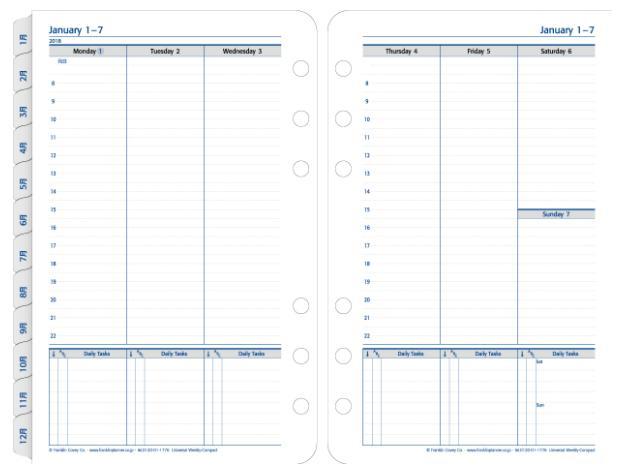 コンパクトサイズ(バイブルサイズ幅広) 6穴ユニバーサル・ウィークリー・リフィル (日本語版)1週間2ページ 見開き2018年1月始まり