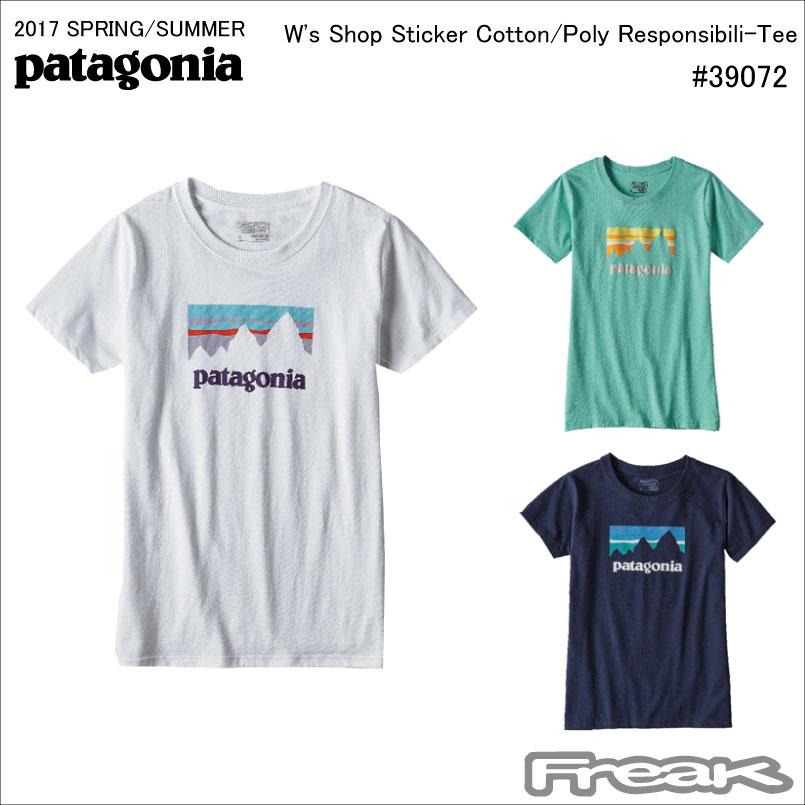 【10/23 9:59まで】ポイントアップ&クーポン配布中!!パタゴニア PATAGONIA Tシャツ 39072<W's Shop Sticker Cotton/Poly Responsibili-Tee ウィメンズ ショップ ステッカー コットン/ポリ レスポンシビリティー>※取り寄せ品