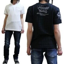 SALE!!6589円→4690円 【NORTON(ノートン)メンズ】 チドリ ジャカード Vネック Tシャツ|FREE-GUY(フリーガイ)