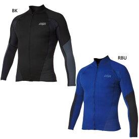 アクア aqa メンズ UV ウェットトップジップロング マリンスポーツ ウェットトップ 長袖 単品 上 アウトドア スノーケリング サーフィン KW-4614