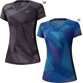 レディース ランニングTシャツ ジョギング マラソン ウェア トップス 半袖Tシャツ グラフィック柄 ミズノ Mizuno J2MA0220