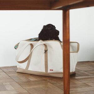 【犬 キャリー】スクエア トート キャンバス ツートン LL サイズキャリーバッグ メッシュ 蓋付き 軽量 ペットキャリー 多頭 犬 キャリーバック おしゃれ シンプル 日本製 人