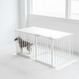 【犬 サークル】スタイリッシュドッグ サークル ネット(ホワイト)犬 サークル ケージ ゲージ ハウス 囲い 柵 室内用 リビング 脱走防止