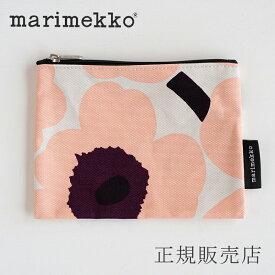 マリメッコ Keijutar マチなしポーチ ウニッコ ピンク×バーガンディ(marimekko)