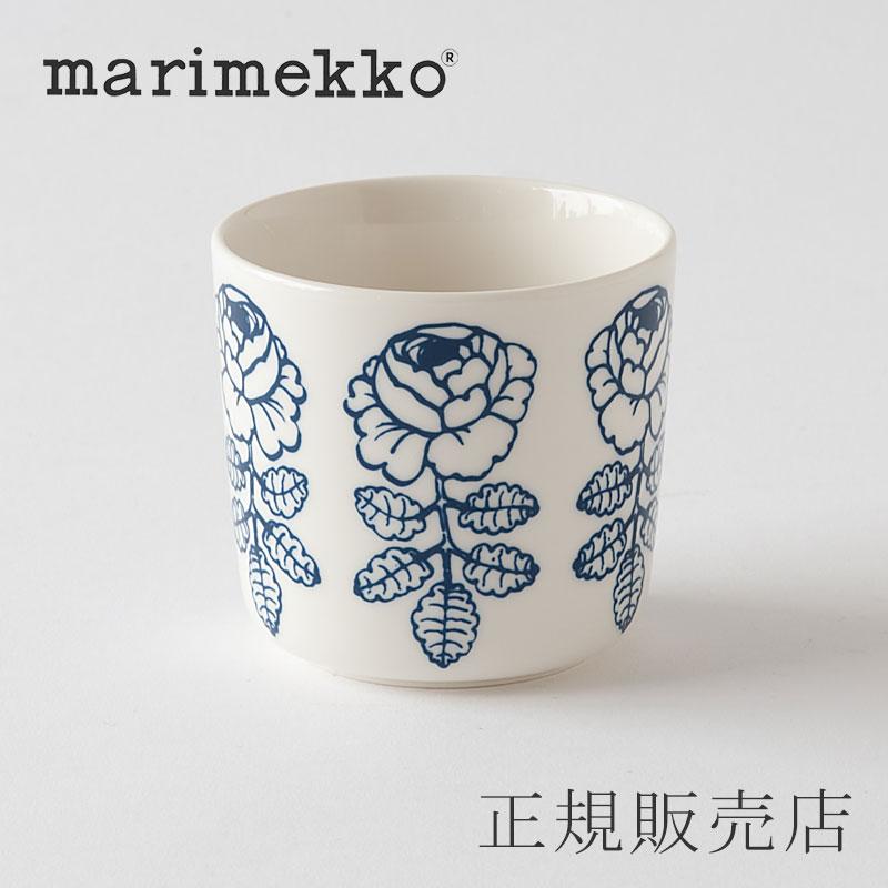 マリメッコ ラテマグ ヴィヒキルース ホワイト×ブルー(marimekko)