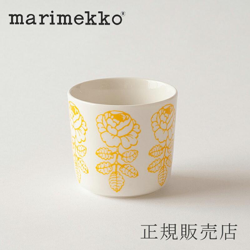 マリメッコ ラテマグ ヴィヒキルース ホワイト×イエロー(marimekko)
