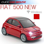 【即納】【フィアット500NEW】クリックカーマウス電池式ワイヤレスタイプ660073レッド