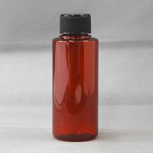 プラスチック容器 PETカラーボトルレッド平キャップタイプ100mlキャップ黒 H100PET-R-BK