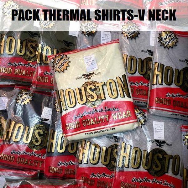 【半額セール50%OFF】HOUSTON/ヒューストン PACK THERMAL SHIRTS-V NECK/Vネックサーマルシャツ・4color