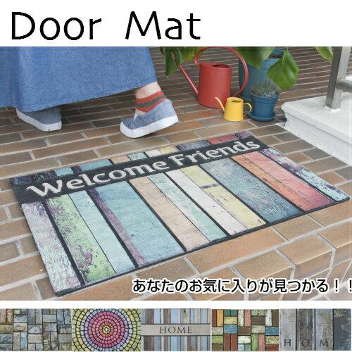 玄関マット屋内 屋外 洗える おしゃれ ヴィンテージ 薄型 かわいい お手入れ簡単 滑り止めドアマット ラバーゴムマット