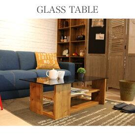 ガラス天板テーブル センターテーブル ローテーブルナチュラル 木目調 WH BR NA 収納テーブル リビング 北欧 カフェテーブル
