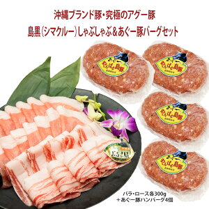 お中元【送料無料】フレッシュミートがなは 豚肉ギフト しゃぶしゃぶ 沖縄アグー豚 豚肉 我那覇畜産直送 高級豚肉 島黒(シマクルー)しゃぶしゃぶ+あぐー豚ハンバーグセット ロース・バ