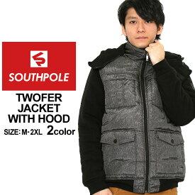 サウスポール 中綿ジャケット フード メンズ|大きいサイズ USAモデル ブランド SOUTH POLE|ナイロンジャケット 防寒 アウター ブルゾン ストリート XL XXL LL 2L 3L (clearance)
