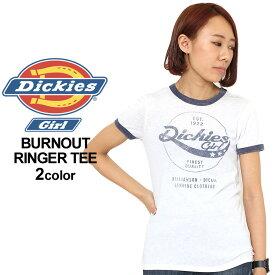 ディッキーズガール レディース Tシャツ 半袖 カジュアル ロゴ|USAモデル Dickies Girl|ディッキーズ 半袖Tシャツ リンガー カットソー 【W】