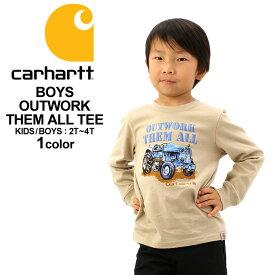 [キッズ] カーハート Tシャツ 長袖 USAモデル ボーイズ│ブランド Carhartt|ロンT 長袖Tシャツ ロゴ プリント|子供 子供服 男の子 女の子 アメカジ おしゃれ 大きいサイズ 小さいサイズ