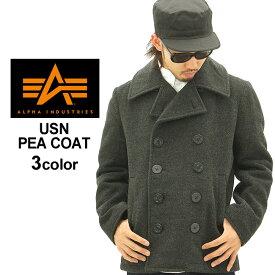 alpha industries アルファ インダストリーズ Pコート メンズ (alpha mjn45032c1) [alpha アルファ コート メンズ Pコート ピーコート ブラック ネイビー アウター 秋 冬 大きいサイズ アメカジ ブランド XL XXL LL 2L 3L 4L] (USAモデル) (clearance)