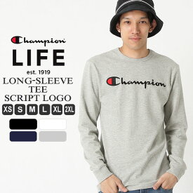 [10%OFFクーポン配布] Champion チャンピオン ロンt メンズ チャンピオン tシャツ 長袖 メンズ ロゴプリント 大きいサイズ メンズ tシャツ 長袖 XS/S/M/L/LL/3L Champion Life【COP】