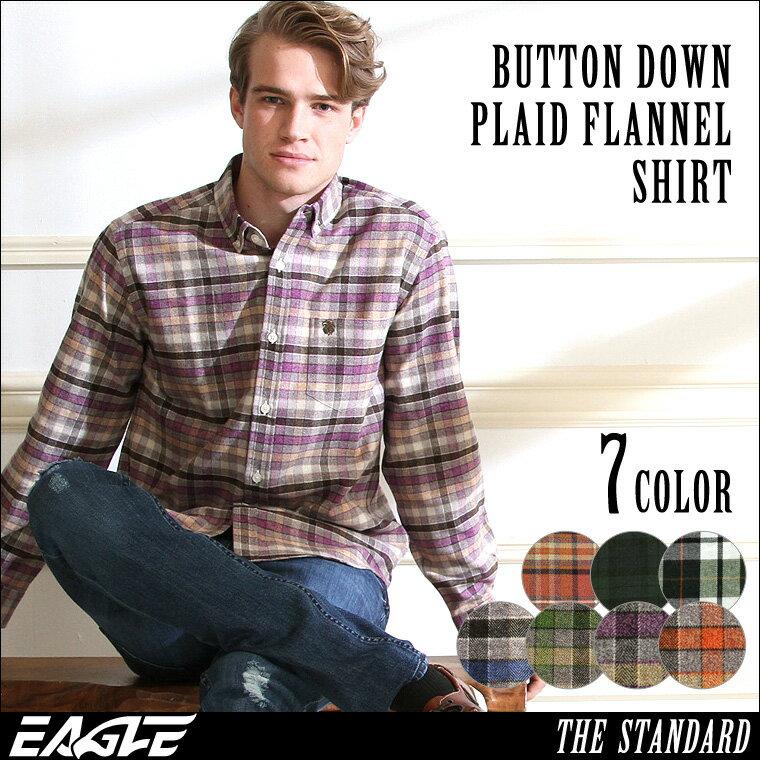 ネルシャツ メンズ チェックシャツ 長袖 ボタンダウン 大きいサイズ メンズ EAGLE THE STANDARD [ネルシャツ メンズ 厚手 チェックシャツ フランネルシャツ メンズ チェック フランネル シャツ ボタンダウンシャツ カジュアルシャツ XL XXL 2L LL] (日本規格)