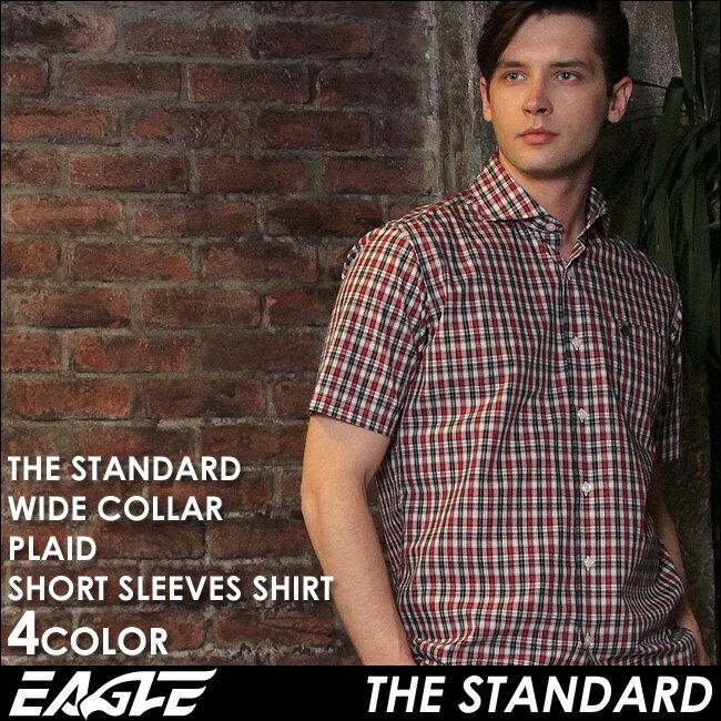 【送料無料】 シャツ メンズ 半袖 カジュアル チェック柄 ワイシャツ ワイド EAGLE THE STANDARD [日本規格] (カジュアルシャツ 半袖 シャツ メンズ 半袖 大きいサイズ チェックシャツ メンズ ワイド シャツ Yシャツ ワイシャツ コットンシャツ メンズシャツ)